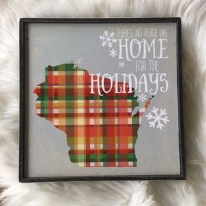 WISCONSIN Wood Holiday Wall Art No Place Like Home